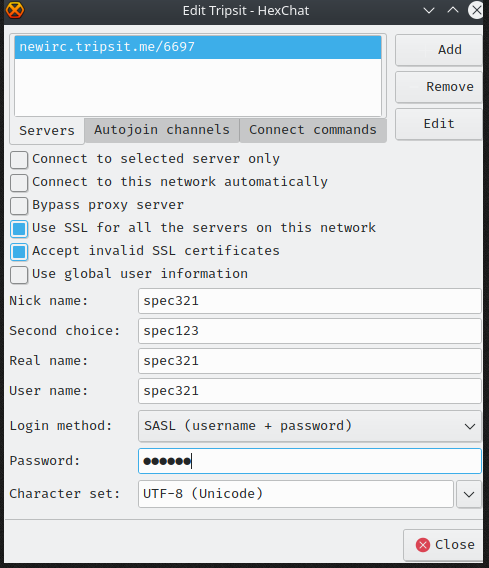 Hexchat Network Configuration